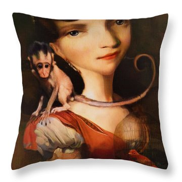 Throw Pillow featuring the photograph Girl With A Pet Monkey by Sharon Jones