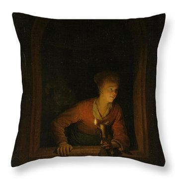 Girl With An Oil Lamp At A Window Throw Pillow by Gerard Dou