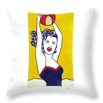 Girl With Ball - Pop Art - Roy Lichtenstein Throw Pillow