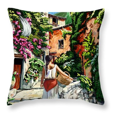 Girl With Basket On A Greek Island Throw Pillow