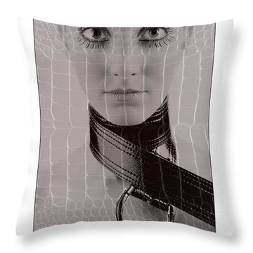 Girl With Big Eyes Throw Pillow by Michael Edwards