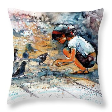 Throw Pillow featuring the painting Girl With Birds by Kovacs Anna Brigitta