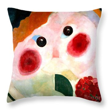 Girl With Buttercups Throw Pillow by Pg Reproductions