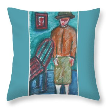 Girl With Chair Throw Pillow
