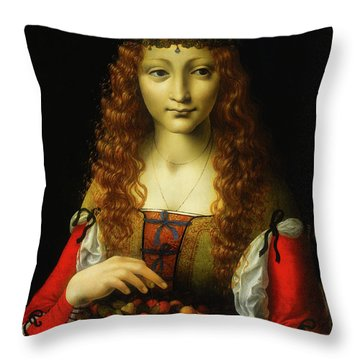 Throw Pillow featuring the painting Girl With Cherries by Giovanni De Predis