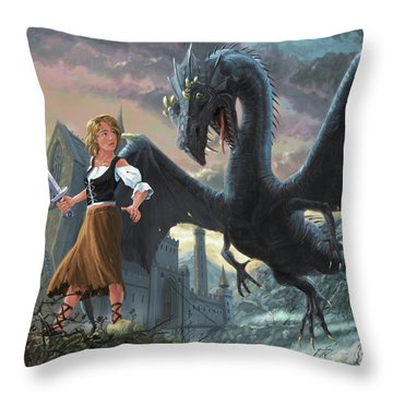 Girl With Dragon Fantasy Throw Pillow