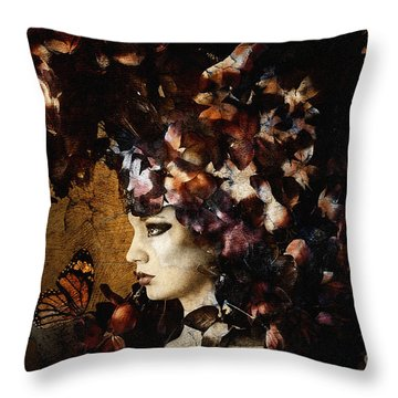 Girl With Flower Hat Throw Pillow