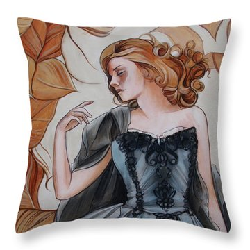 Girl With Golden Leaves Throw Pillow by Jacque Hudson