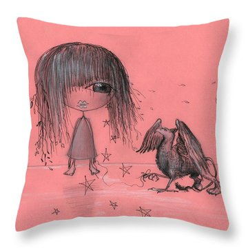 Girl With Griffin  Throw Pillow