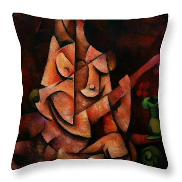 Girl With Guitar Throw Pillow