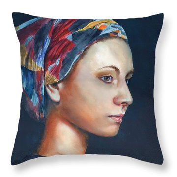 Girl With Headscarf Throw Pillow