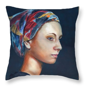 Throw Pillow featuring the painting Girl With Headscarf by John Neeve