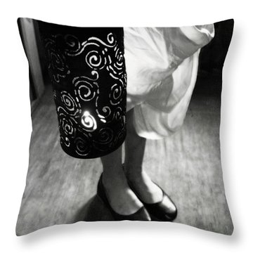 Girl With Lantern In Black And White Throw Pillow