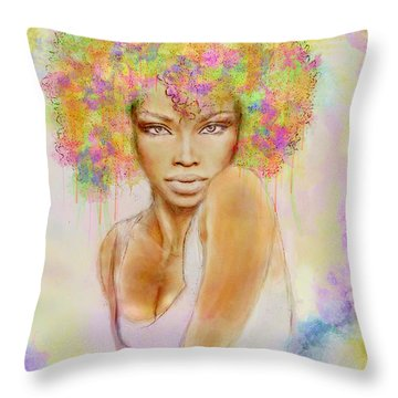 Girl With New Hair Style Throw Pillow by Lilia D