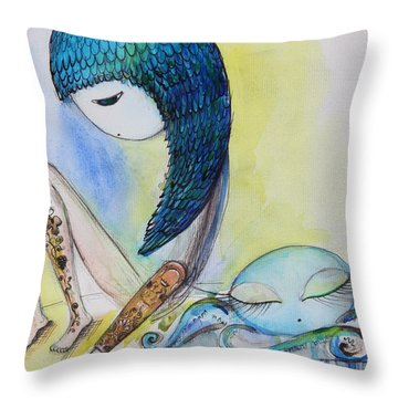 Girl With Octopus  Throw Pillow