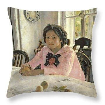 Girl With Peaches Throw Pillow by Valentin Aleksandrovich Serov