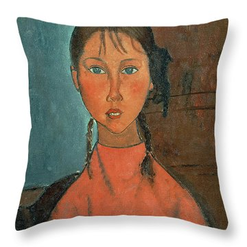 Girl With Pigtails Throw Pillow by Amedeo Modigliani