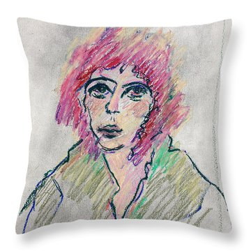 Girl With Pink Hair  Throw Pillow