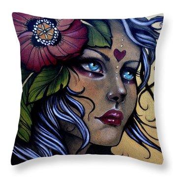 Girl With Poppy Flower Throw Pillow