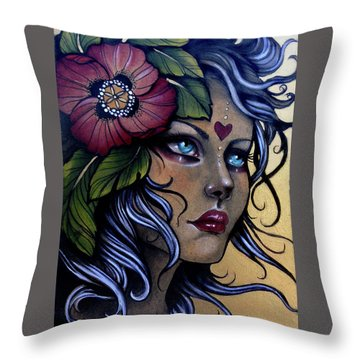 Girl With Poppy Flower Throw Pillow
