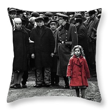 Girl With Red Coat Publicity Photo Schindlers List 1993 Throw Pillow