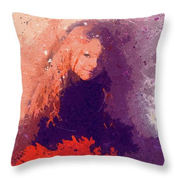 Girl With Red Flowers 2 Throw Pillow