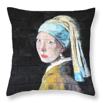 Girl With The Pearl Earring Throw Pillow