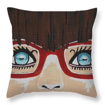 Throw Pillow featuring the painting Girl With The Red Glasses by Kathleen Sartoris