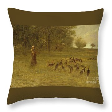 Girl With Turkeys Throw Pillow
