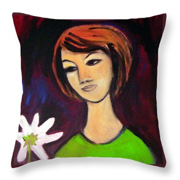 Girl With White Flower Throw Pillow