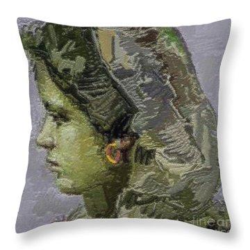 Girl With Yellow Earring Gwye2 Throw Pillow by Pemaro