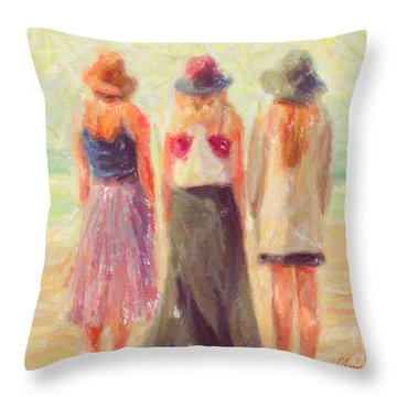 Girlfriends At The Beach Throw Pillow