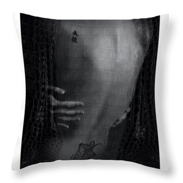 Girl's Back With Tattoo. Studio Shot Throw Pillow by Michael Edwards