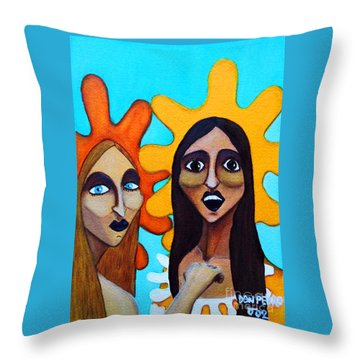 Throw Pillow featuring the painting Girls Caught In Fraganti by Don Pedro De Gracia