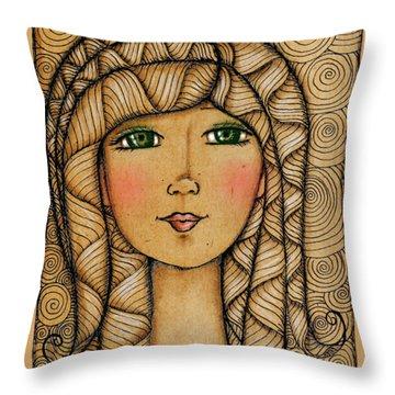 Girl's Face Throw Pillow by Delein Padilla