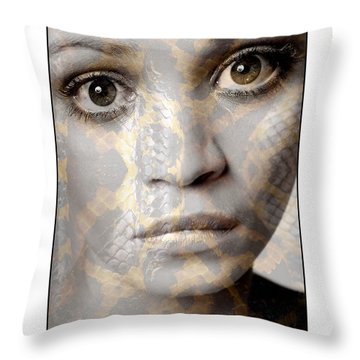Girls Face With Snake Skin Texture Throw Pillow by Michael Edwards