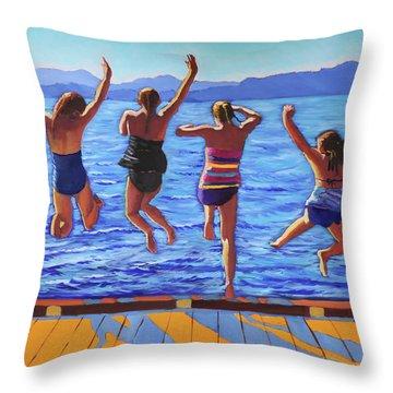 Girls Jumping Throw Pillow