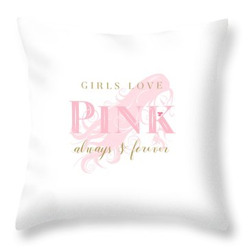 Girls Love Pink Woman Silhouette Throw Pillow
