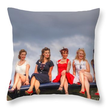 Girls On A Wing Throw Pillow