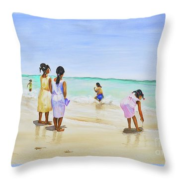 Girls On The Beach Throw Pillow by Patricia Piffath