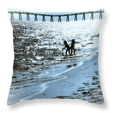 Girls Play Throw Pillow by Kathy Bassett