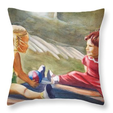 Girls Playing Ball  Throw Pillow by Marilyn Jacobson