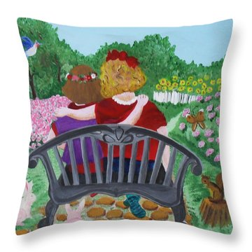 Girls Sitting Throw Pillow