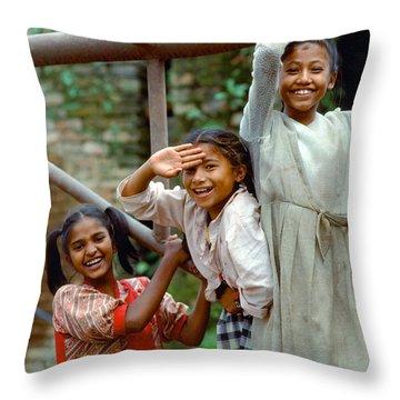Girls Smiling In Kathmandu, Nepal Throw Pillow