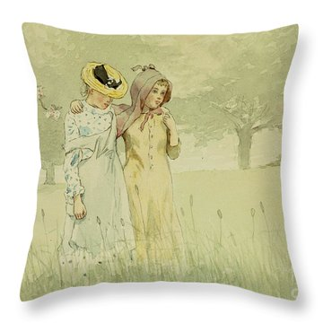 Girls Strolling In An Orchard Throw Pillow by Winslow Homer