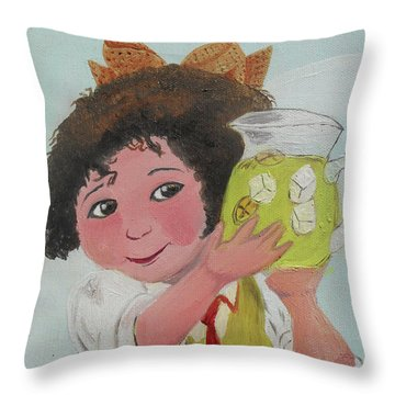 Girls With Lemonade Throw Pillow by M Valeriano