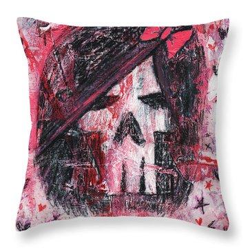 Girly Scene Skull Throw Pillow by Roseanne Jones