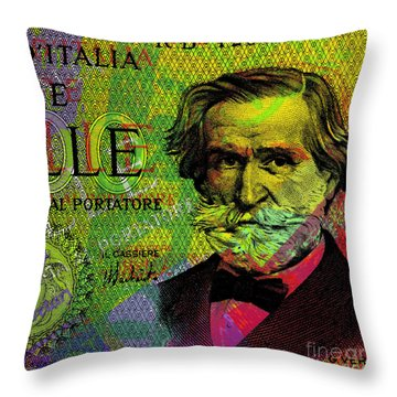 Giuseppe Verdi Portrait Banknote Throw Pillow