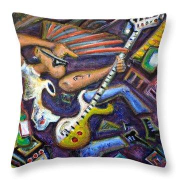 Give Em The Boot - Punk Rock Cubism Throw Pillow by Jason Gluskin