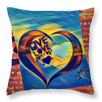 Give Love Throw Pillow by Vennie Kocsis